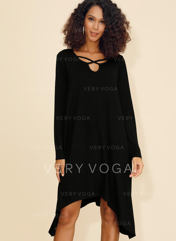 Solid Long Sleeves Shift Asymmetrical Little Black/Casual Dresses