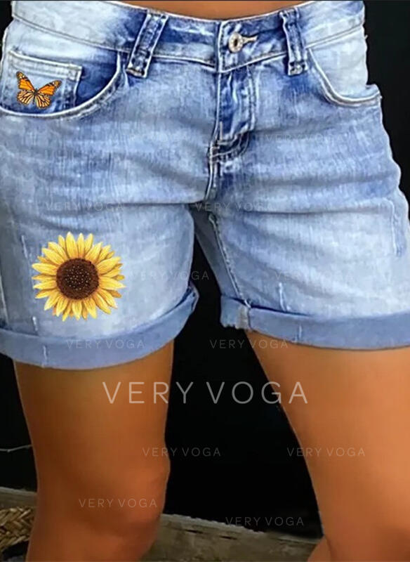 Print Pockets Shirred Plus Size Above Knee Casual Sexy Floral Denim Shorts