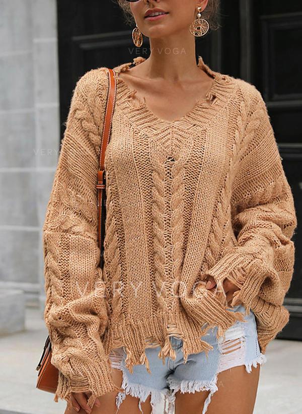 Sólido Punto De Cable Cuello Redondo Suéteres