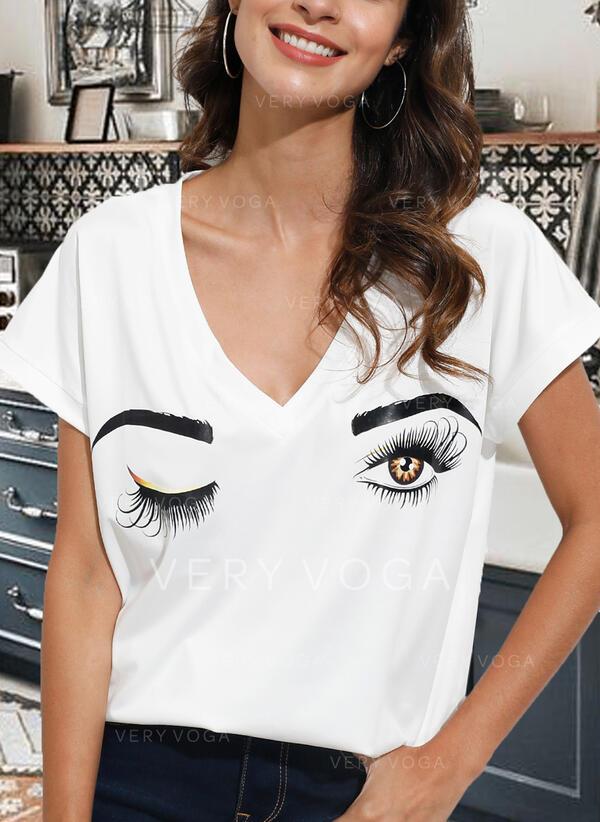 Print V-hals Korte Mouwen Casual T-shirts