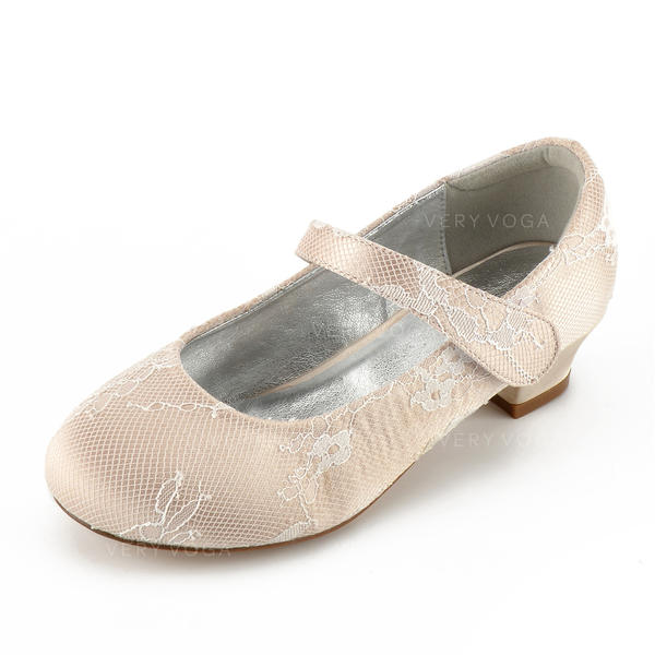 798288787a [US$ 37.99] Girl's Lace Silk Like Satin Low Heel Round Toe Closed Toe Mary  Jane Flower Girl Shoes With Rhinestone Velcro - VeryVoga
