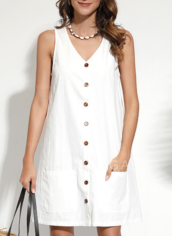 Solid Sleeveless Shift Knee Length Casual/Vacation Dresses