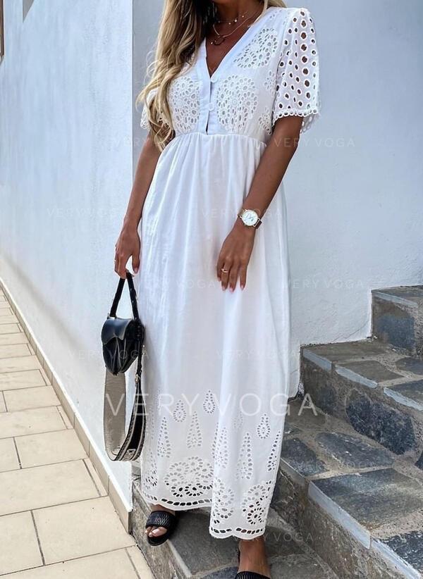 Solid Short Sleeves A-line Skater Elegant Maxi Dresses