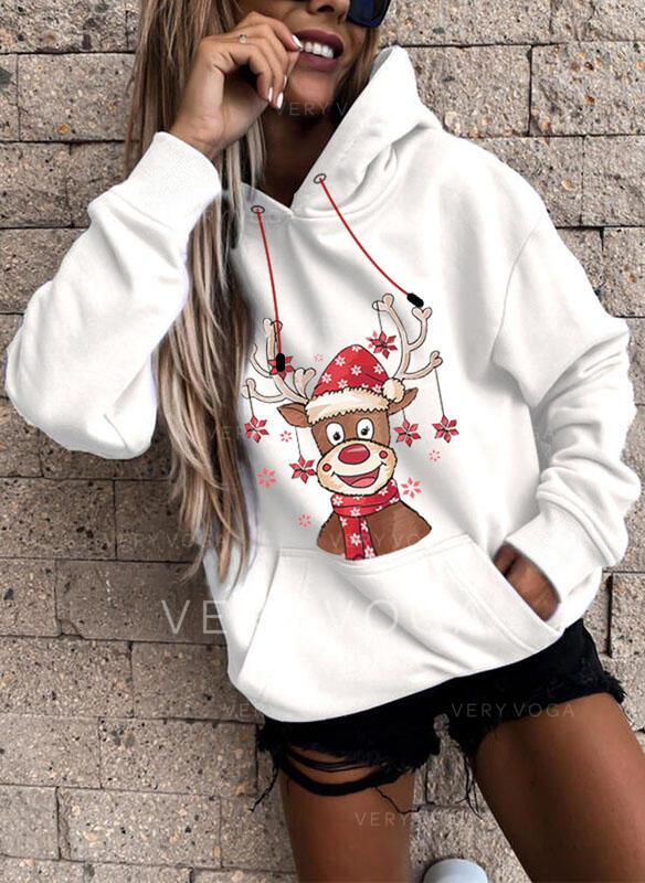 Dyr Lommer Lange ærmer Jule sweatshirt