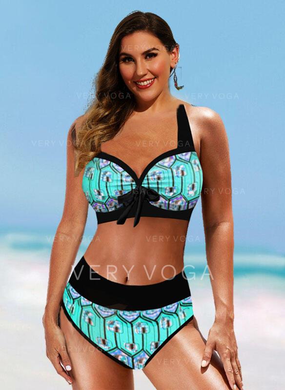 High Waist Print Bowknot Strap Sexy Boho Bikinis Swimsuits
