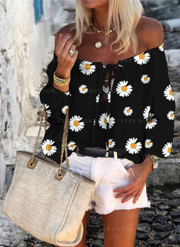 Print Floral Off the Shoulder 3/4 Sleeves Casual Blouses