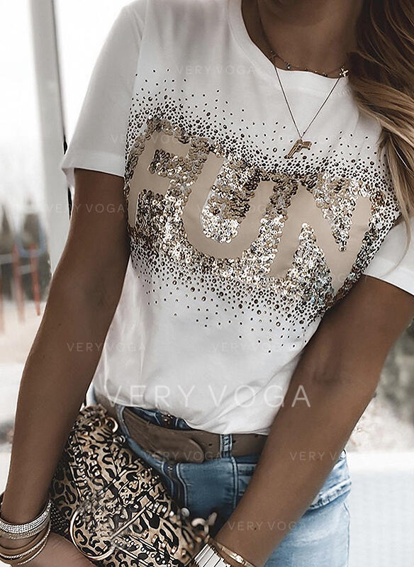 Print Sequins Figure Round Neck Short Sleeves Casual T-shirts