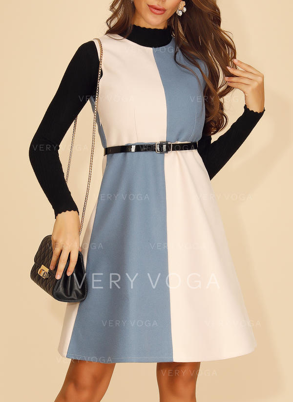 Color Block Long Sleeves A-line Knee Length Casual/Elegant Dresses