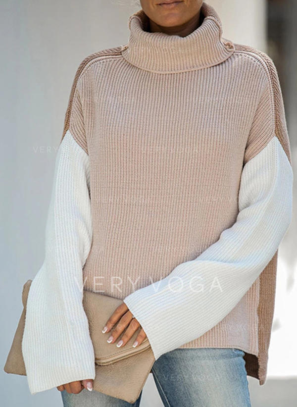 Solid Stand Collar Sweaters