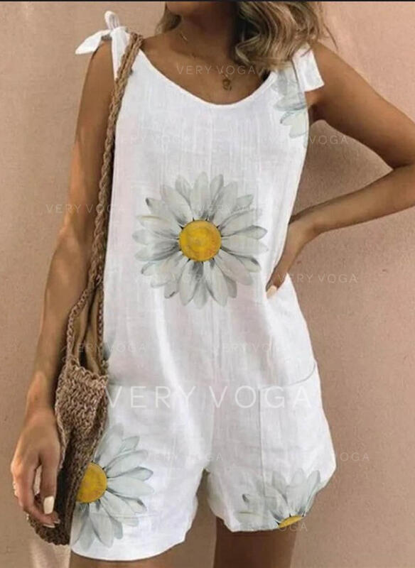 Floral Print Strap Sleeveless Casual Vacation Romper
