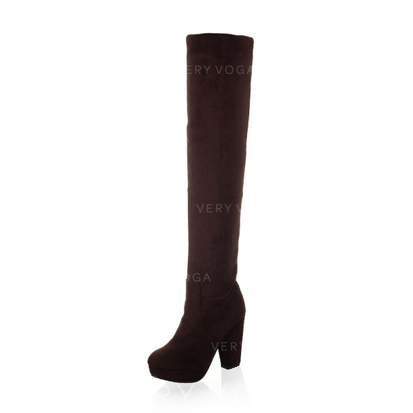 Women's Suede Chunky Heel Platform Over The Knee Boots shoes