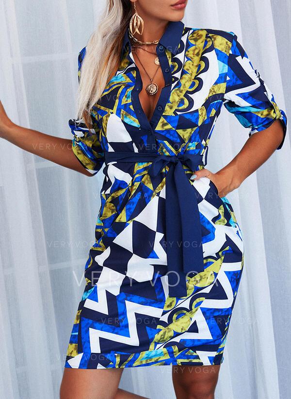 Geometric Print Short Sleeves Sheath Knee Length Casual Shirt Dresses