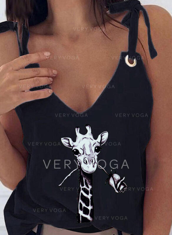 Animal Print Strap Sleeveless Sexy Tank Tops