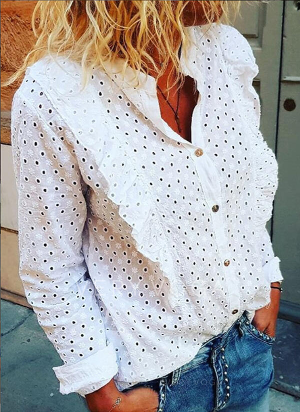 Solid V-Neck Long Sleeves Button Up Casual Elegant Shirt Blouses