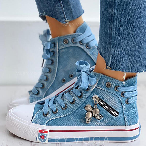 Women's Canvas Casual Outdoor Athletic With Zipper Lace-up shoes (1008305442)