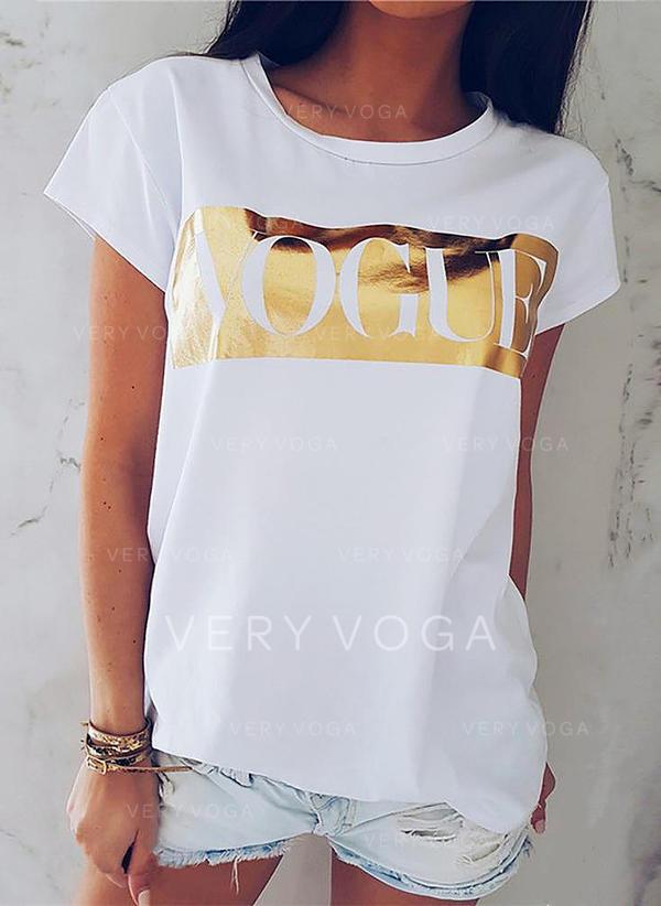 Imprimée Col Rond Manches Courtes Décontractée Tricotage T-shirt