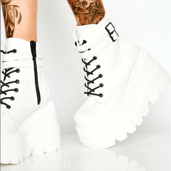 De mujer PU Tipo de tacón Cerrados Botas Martin botas Encaje con Hebilla Cordones zapatos