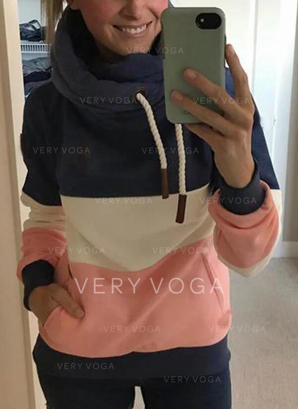 Color Block Pockets Long Sleeves Hoodie