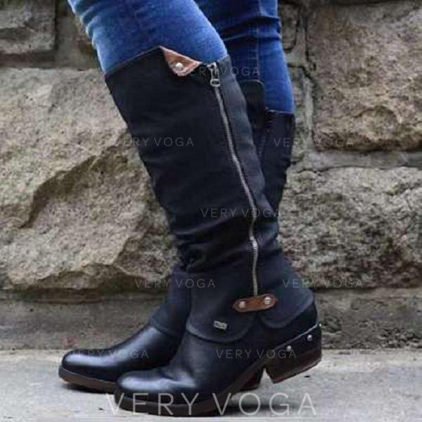 De mujer PU Tacón ancho Botas longitud media con Cremallera zapatos