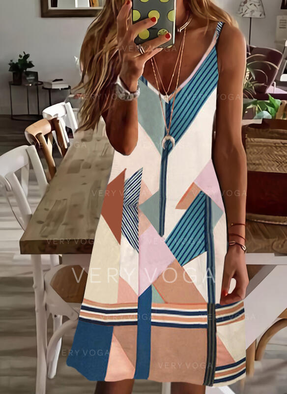 Print/Color Block/Striped/Geometric Sleeveless Shift Above Knee Casual/Vacation Slip Dresses