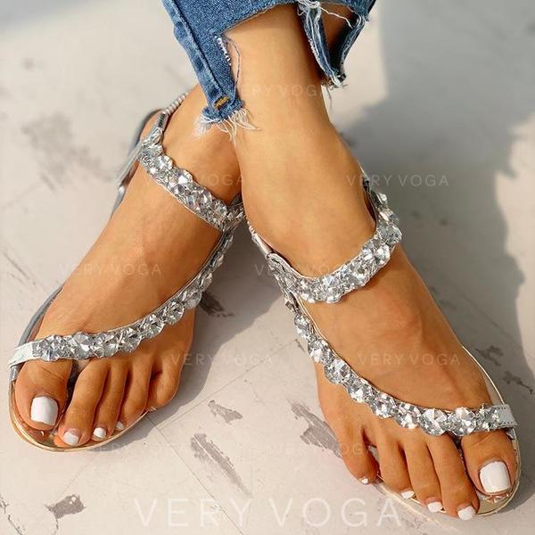 Donna PU Zeppe Sandalo Ballerine Punta aperta Anello del dito del piede con Strass scarpe
