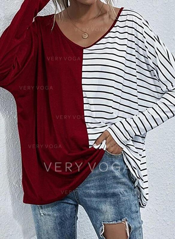 Druck Gestreift V-Ausschnitt Lange Ärmel T-Shirts