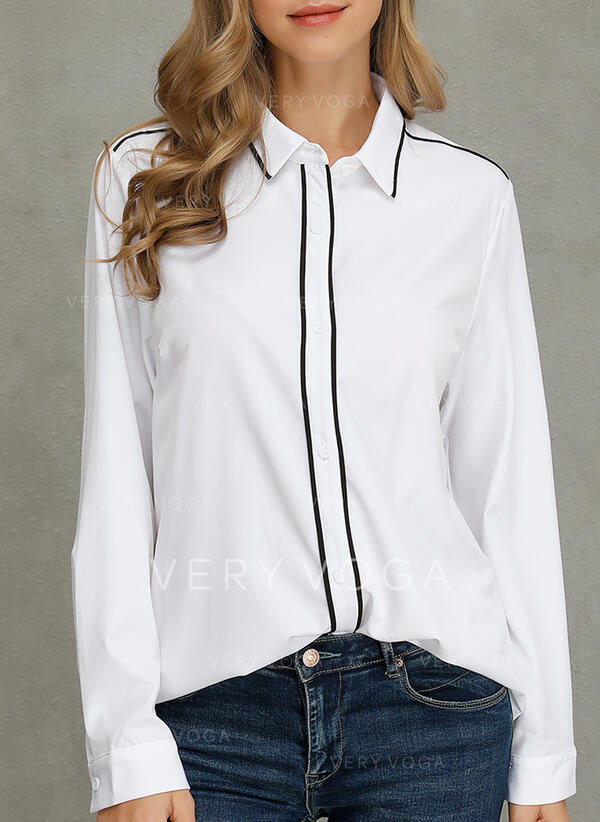 Solido Risvolto Maniche lunghe Casuale Shirt and Blouses