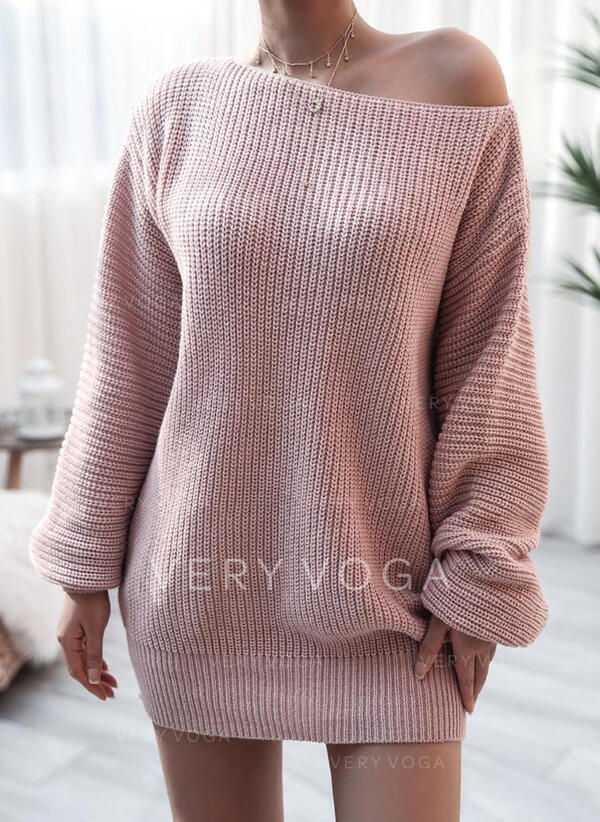 Solid Lange ærmer Shift Over knæet Casual Sweater Kjoler