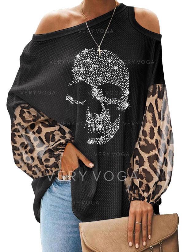 Блестки леопард Холодный прием Длинные рукова Повседневная Блузы