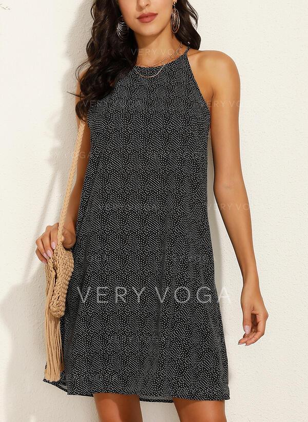 印刷 ノースリーブ シフトドレス 膝上 カジュアル タンク ドレス