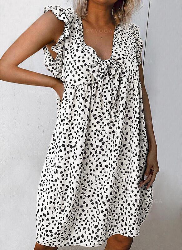 印刷 ノースリーブ シフトドレス 膝丈 カジュアル タンク ドレス