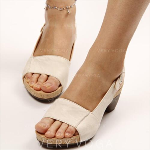 Women's PU Chunky Heel Sandals Pumps Peep Toe With Buckle shoes