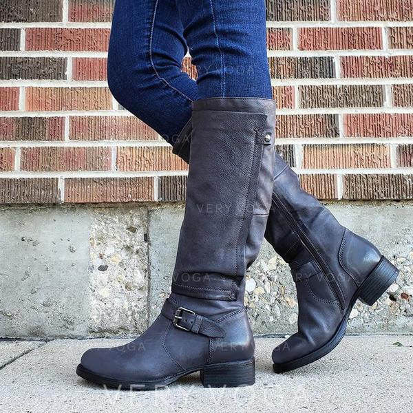 Γυναίκες PU Χαμηλή τακούνια Μπότες Με Πόρπη παπούτσια