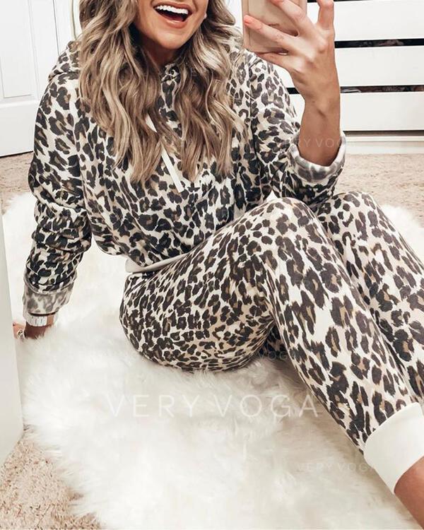 Met capuchon Lange Mouwen Luipaard Sexy Top & broek sets