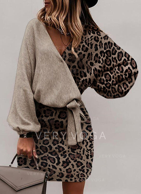 Leopard Long Sleeves Bodycon Above Knee Elegant Dresses