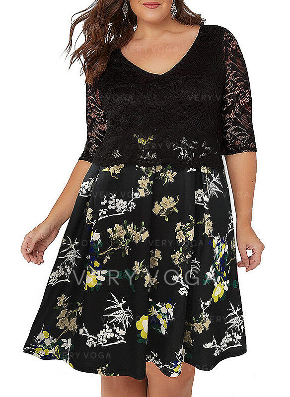 Lace/Print/Floral 1/2 Sleeves A-line Knee Length Casual/Plus Size Dresses