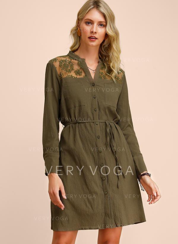 Koronka/Jednolita Długie rękawy W kształcie litery A Nad kolana Casual Sukienki