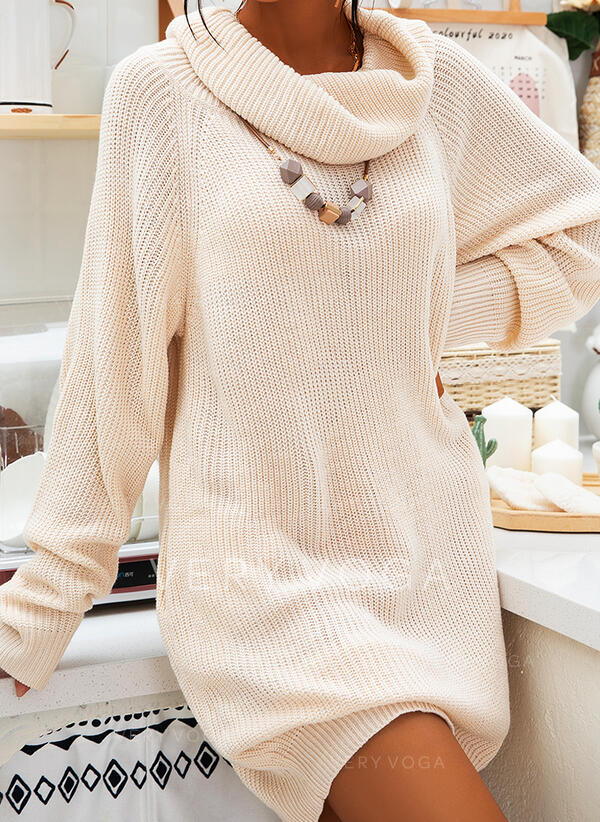 Chunky knit Turtleneck Casual Long Sweater Dress