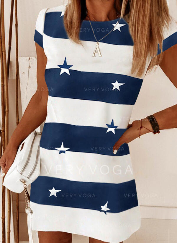 Imprimeu/Renkli klişe Mâneci Scurte Shift Elbiseleri Deasupra Genunchiului gündelik Tricou Elbiseler