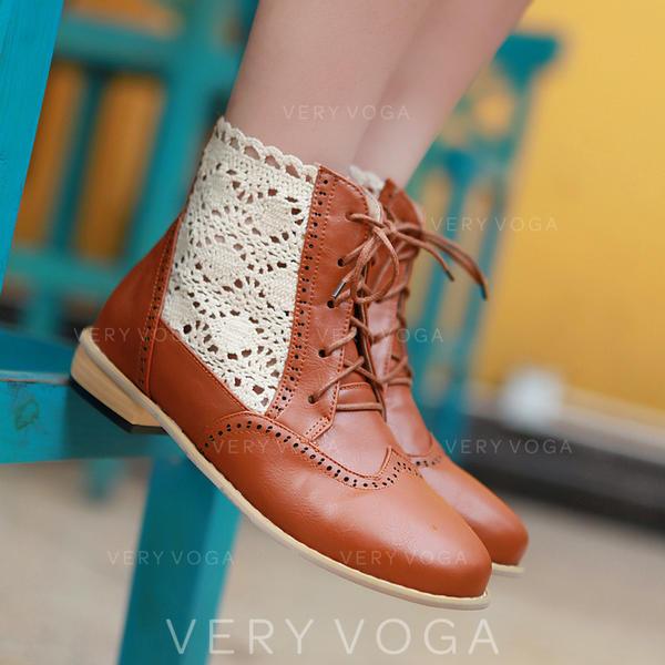 Жіночі ПУ Квадратні підбори Бокові черевики з Зашнурувати В'язаний одяг взуття