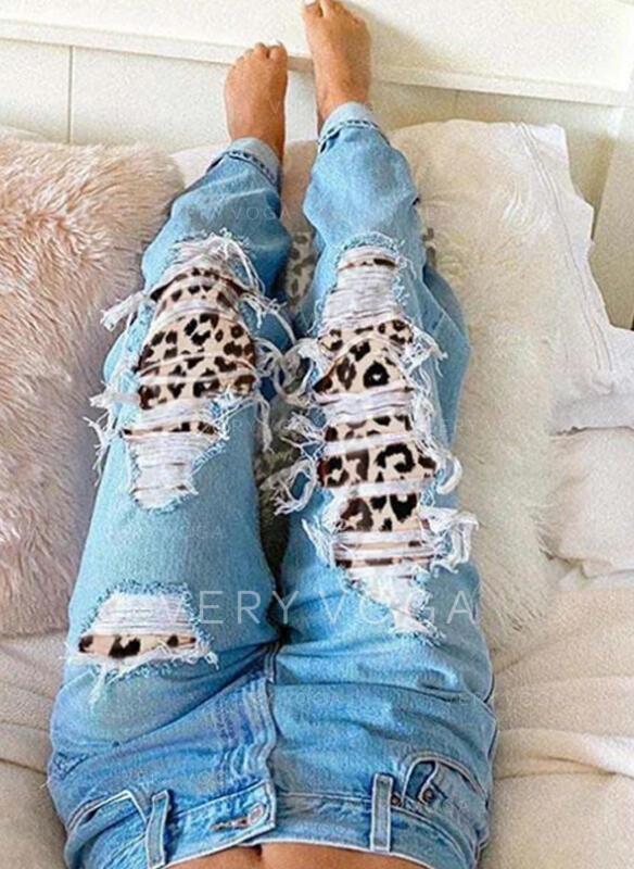 Leopard Tribal Cotton Long Vintage Plus Size Ripped Pants Denim & Jeans