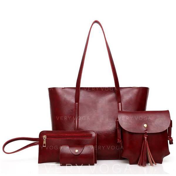 Solid Color Shoulder Bags/Bag Sets/Wallets & Wristlets