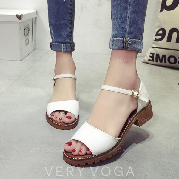 Women's PU Low Heel Sandals With Buckle shoes