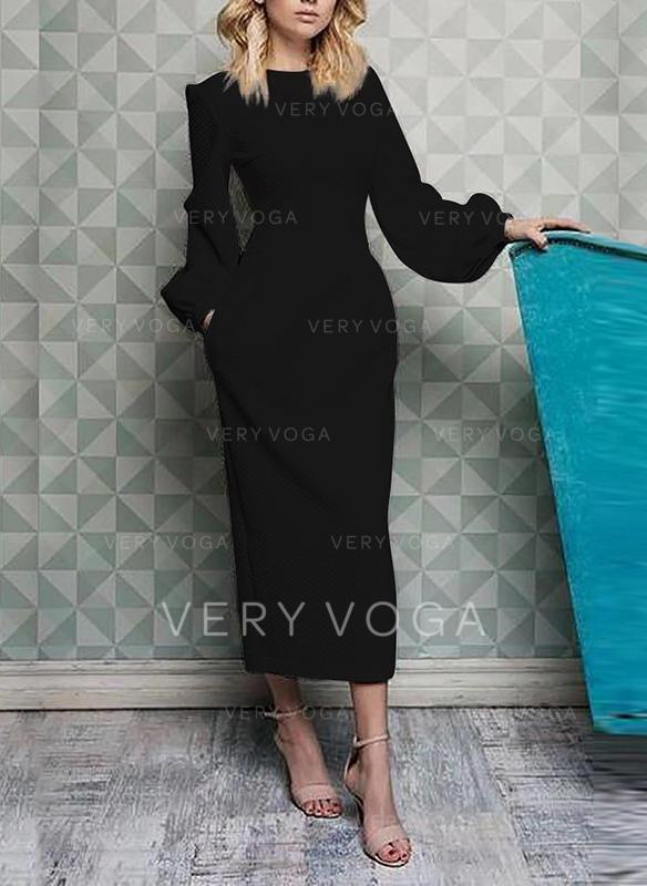 Solid Mâneci Lungi Manşon Midi Negre/Casual/Elegant Elbiseler