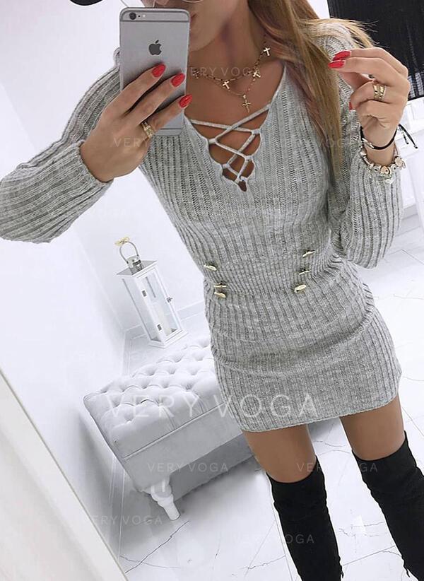 Solid V-ringning Casual Lång Tät Tröja klänning