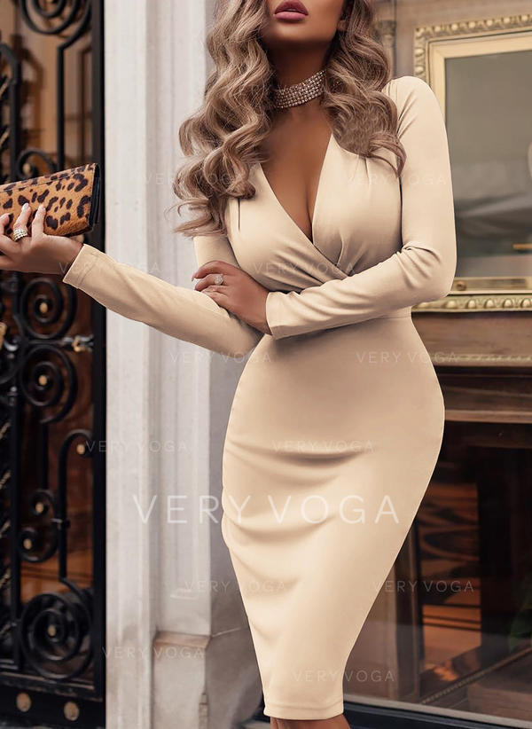 Solid Long Sleeves Bodycon Knee Length Party/Elegant Pencil Dresses