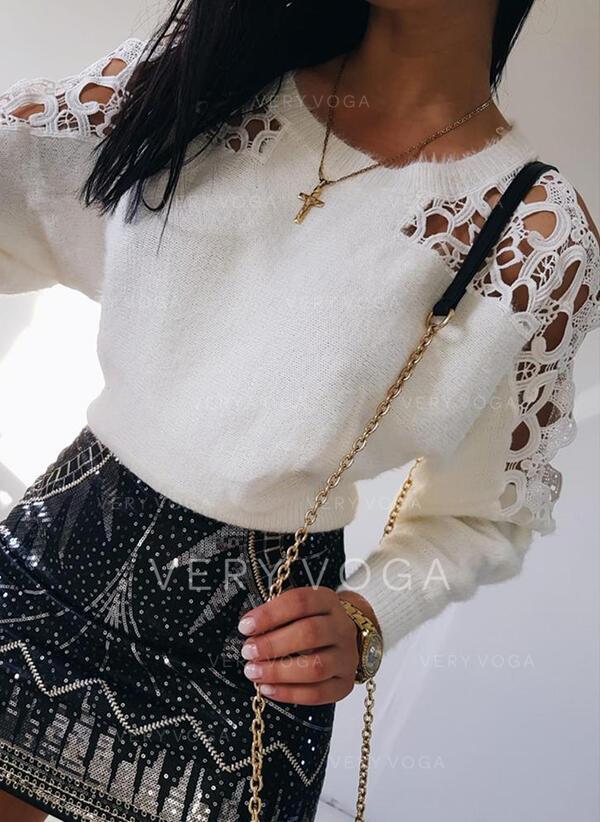 Jednolity Koronka Kerek nyak Hétköznapokra πουλόβερ