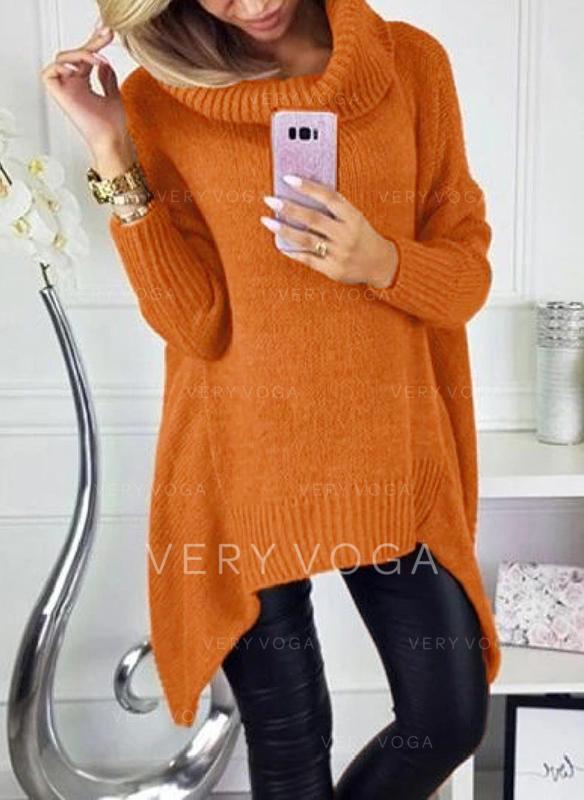 Einfarbig Grobstrick Rollkragen Freizeit Pullover