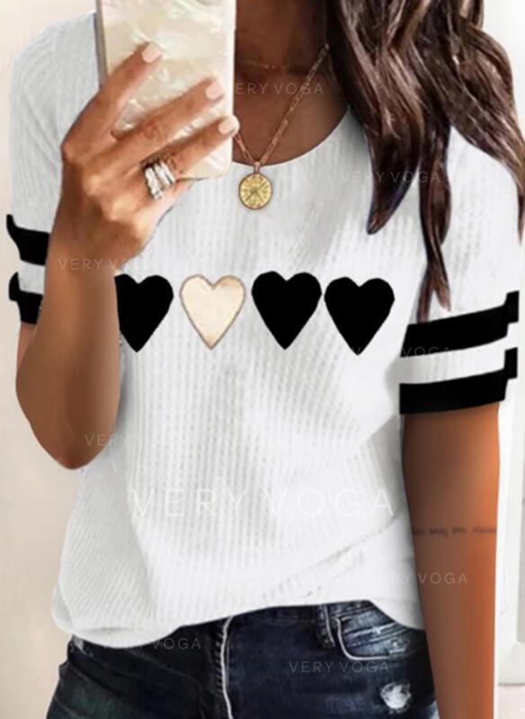 Corazón Impresión raya Cuello Redondo Manga Corta Camisetas
