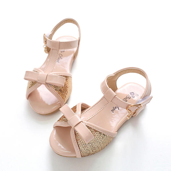 a86b138bf72e2 Fille de À bout ouvert similicuir talon plat Sandales Chaussures plates  Chaussures de fille de fleur